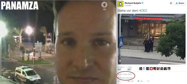 Na snímke vľavo Richard Gutjahr počas útoku v Nice, vpravo jeho videá z útoku v Mníchove