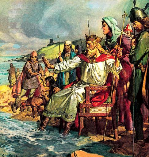 Kráľ Kanut prikazuje vlnám, aby ho nenamočili. Autor maľby: James E. McConnell