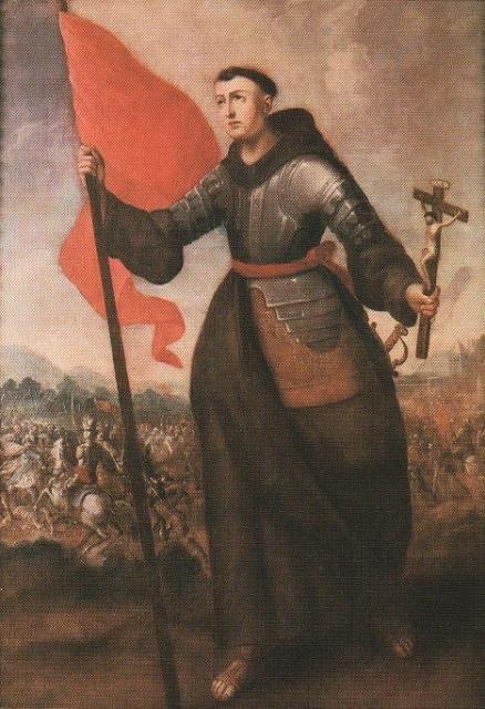 Na snímke zobrazený svätý Ján Kapistránsky, ktorý viedol armádu proti Turkom