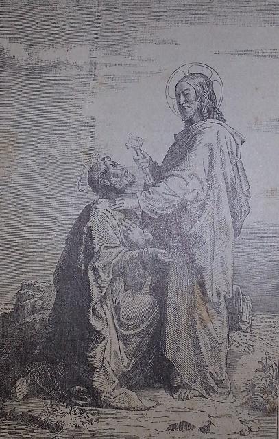 """Svätý Peter na dobovej kresbe znázornený, ako mu Ježiš Kristus dáva """"kľúč do neba"""""""