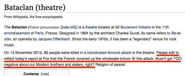 V texte na wikipedii rozhorčený autor žiada o doplnenie informácií o streľbe v parížskom klube Bataclan