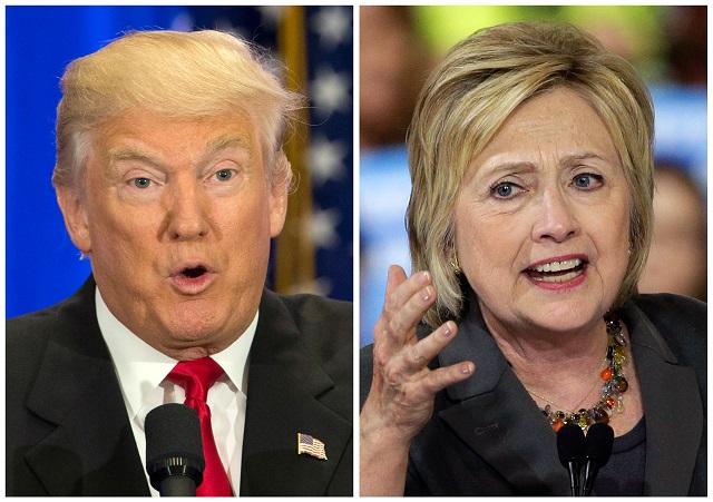 Na kombosnímke sú demokratická uchádzačka o prezidentskú kandidatúru Hillary Clintonová (vpravo) a jej republikánsky súper Donald Trump