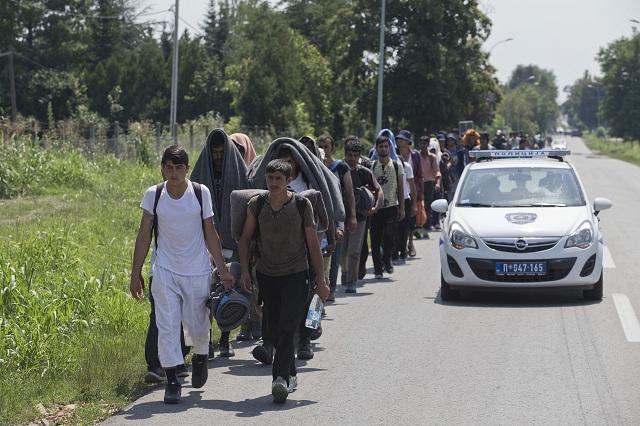 Stovka migrantov pochodovala dnes napriek horúčave k hraniciam Maďarska
