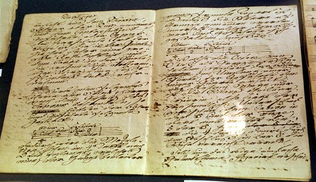 Rukopis od nemeckého skladateľa Johanna Sebastiana Bacha