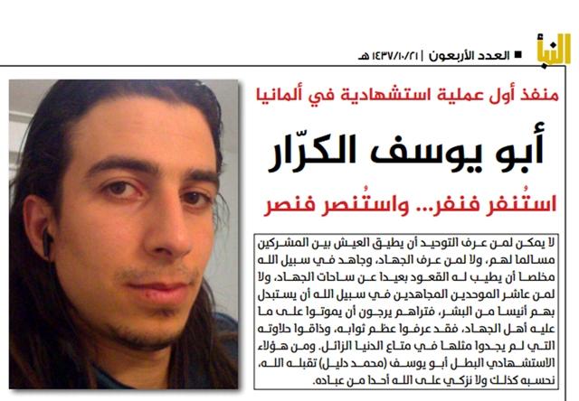 Na nedatovanej snímke z Al-Nabá, online magazínu skupiny Islamského štátu (IS) je Muhammad Dalíl v článku publikovanom neskoro večer 26. júla 2016