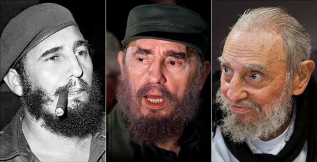 Na kombosnímke je Fidel Castro zľava fajčí cigaru 29. apríla 1961, reční k novinárom vo Washingtone 6. apríla 2000 a na poslednej fotografii je vo svojom dome v Havane 13. februára 2016