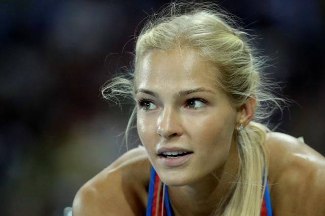 Ruská atlétka Darja Klišinová počas kvalifikácie skoku do diaľky žien na olympijských hrách v brazílskom Riu de Janeiro