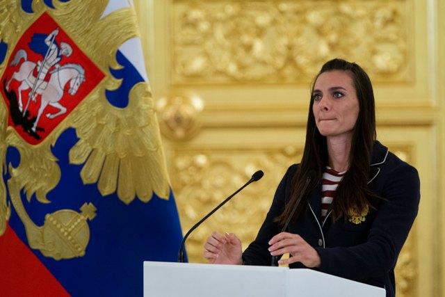 Na snímke ruská skokanka o žrdi Jelena Isinbajevová