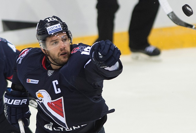 Na snímke Andrej Meszároš (Slovan) v zápase hokejovej KHL Slovan Bratislava - Torpedo Nižnij Novgorod