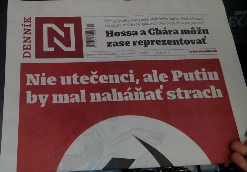 Ilustračná snímka: Titulka tlačenej podoby Denníka N zo dňa 29. 12. 2015