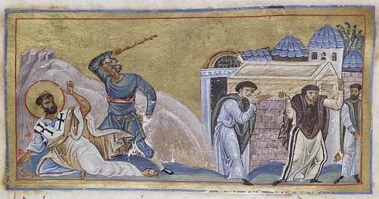 Martýrium Svätého Timoteja , maľba neznámeho autora, okolo roku 1050,  Carihrad