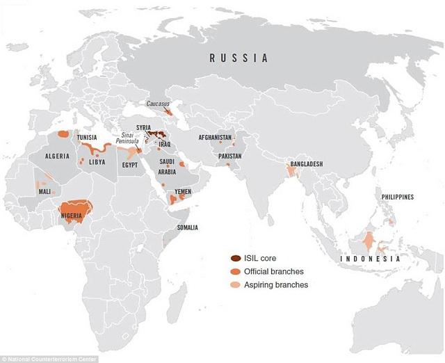 Mapa ukazuje, že sa ISIS stal globálnou hrozbou Vysvetlivky k mape: tmavé sfarbenie – oficiálne územie,                     stredné sfarbenie – oficiálne pobočky,                      slabé sfarbenie –  bunky a pobočky založené tento mesiac