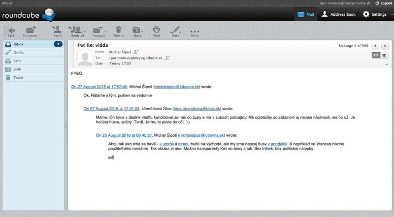 Na snímke zverejnená mailová komunikácia medzi ĽSNS a OĽaNO od údajných Anonymous