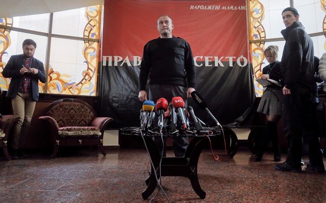 Líder nacionalistického hnutia Pravý sektor Dmytro Jaroš