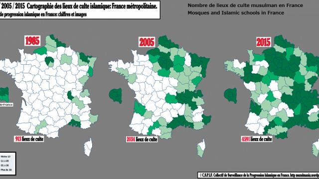 Infografika: Ako prebiehala islamizácia Francúzska v priebehu 30 rokov