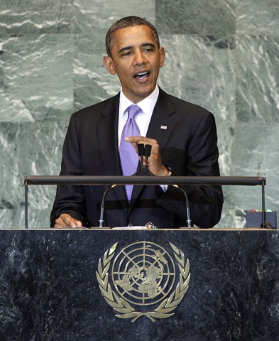 Na snímke americký prezident Barack Obama  pri prejave na 66. Valnom zhromaždení OSN