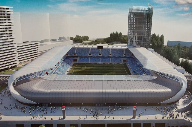 Na snímke vizuál Národného futbalového štadiónu v priestore bývalého štadióna Tehelné pole 1. septembra 2016 v Bratislave