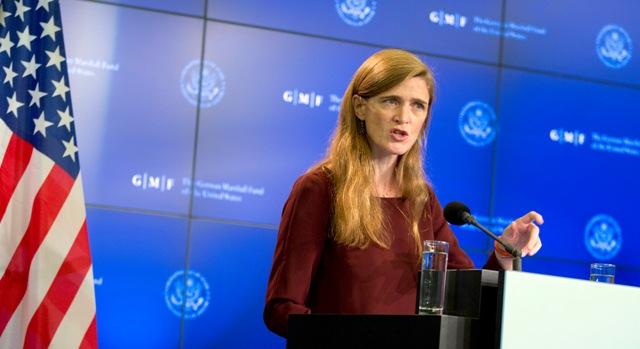 Na snímke americká veľvyslankyňa pri OSN Samantha Powerová Foto:TASR/AP-Virginia Mayo