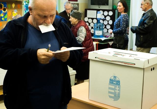Na snímke volebný okrsok v XII. budapeštianskom obvode