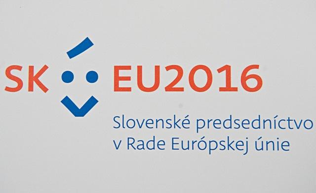 Na snímke logo slovenského predsedníctva v Rade Európskej únie