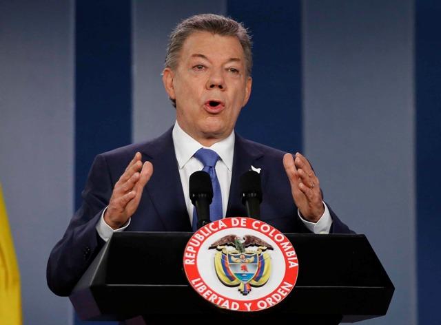 Na snímke kolumbijský prezident Juan Manuel Santos