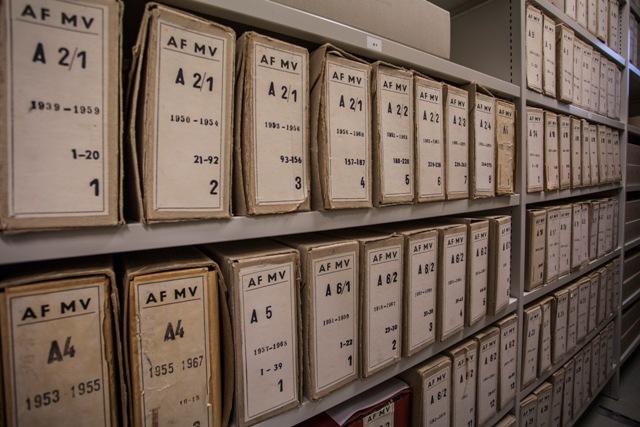 Na snímke archívne materiály Štátnej bezpečnosti v priestoroch archívu Ústavu pamäti národa pri príležitosti Dňa otvorených dverí Ústavu pamäti národa