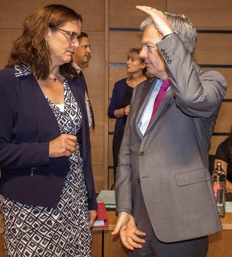 Eurokomisárka pre obchod Cecilia Malmströmová (vľavo) sa rozpráva s belgickým ministrom zahraničných vecí Didierom Reyndersom