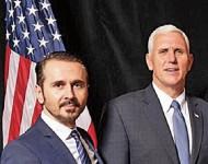 Vladimir Rajčič, autor interview s Trumpom, v spoločnosti republikánskeho kandidáta na amerického viceprezidenta Mikea Pencea
