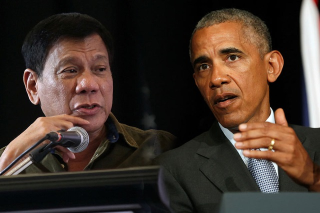 Na kombisnímke vľavo filipínský prezident Duterte a americký prezident Barack Obama