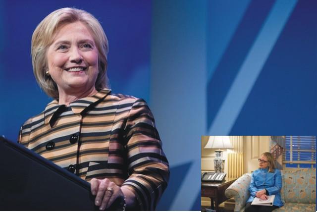 Na snímke Hillary Clintonová . V pravom rohu je foto Clintonovej s údajne odcudzenou sedačkou z Bieleho Domu