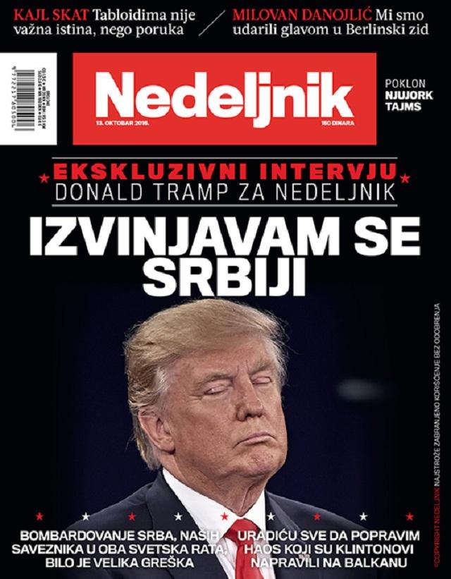 Donald Trump na titulnej stránke Nedeljnika: Ospravedlňujem sa Srbsku