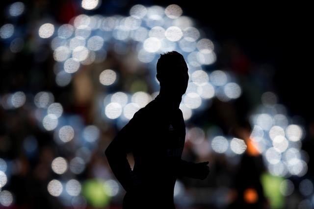 Na snímke silueta portugalského útočníka Cristiana Ronalda
