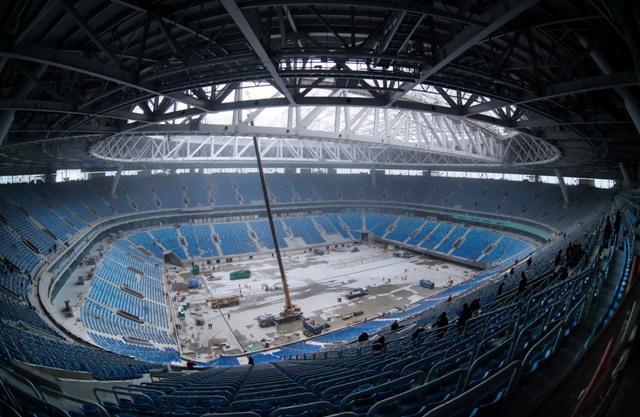 Na snímke interiér futbalového štadióna na Krestovskom ostrove v Petrohrade