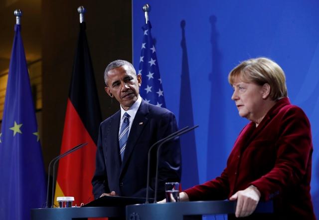 Na snímke americký prezident Barack Obama s nemeckou kancelárkou Angelou Merkelovou