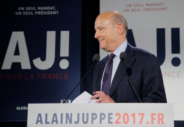 Na snímke francúzsky prezidentský kandidát Alain Juppé