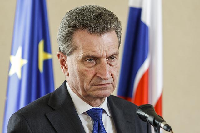 Na snímke komisár Európskej únie (EÚ) pre digitálnu ekonómiu a spoločnosť Günther Oettinger
