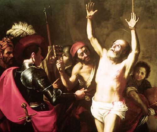 Umučenie svätého Blažeja, biskupa a mučeníka. Maľba neznámeho umelca