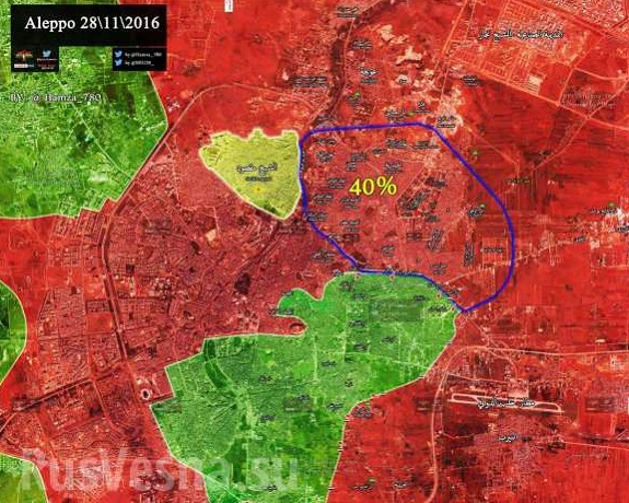 Mapa z bojov o oslobodenie Aleppa