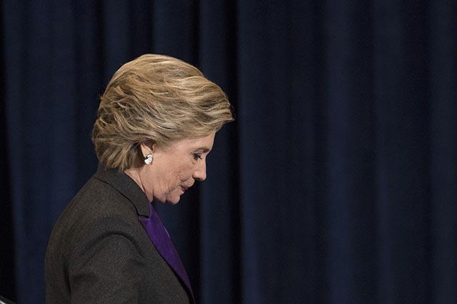 Porazená demokratická prezidentská kandidátka Hillary Clintonová