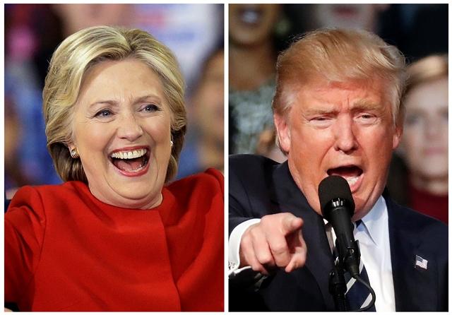 Na kombosnímke Hillary Clintonová  a Donald Trump