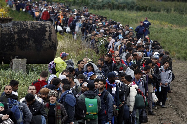 Húfy migrantov smerujúcich do Európy Foto:Petr David Josek)