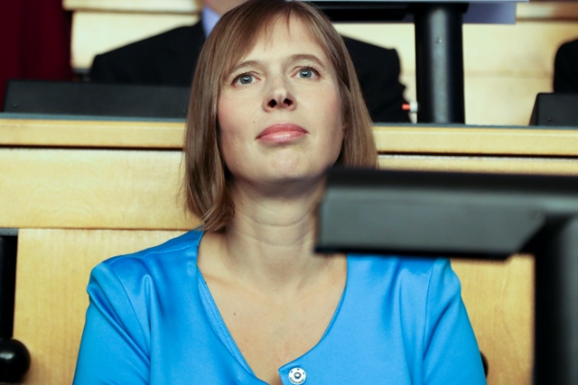 Na snímke estónska prezidentka Kersti Kaljulaidová
