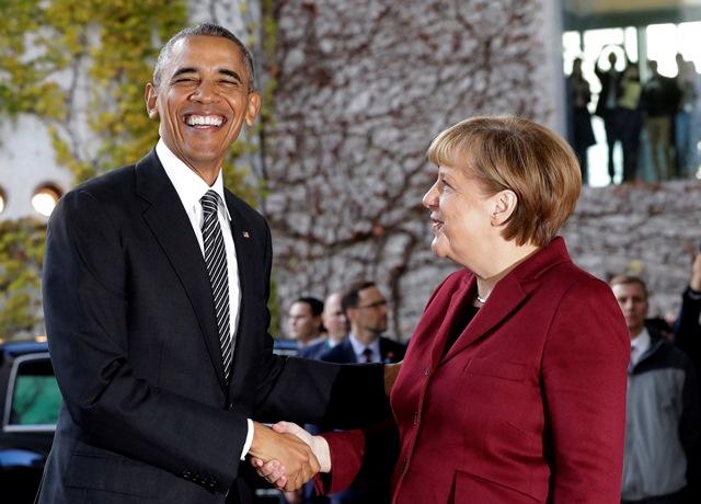Na snímke americký prezident Barack Obama a nemecká kancelárka Angela Merkelová
