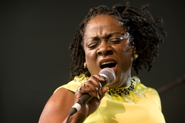 Na snímke americká speváčka Sharon Jonesová