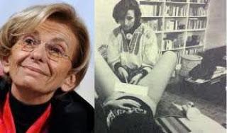 Na snímke Ema Boninová: Vľavo vykonáva potrat žene pomocou bicyklovej pumpy. Boninová si to nechala zdokumentovať ako provokáciu, keďže v tom čase neboli potraty povolené...