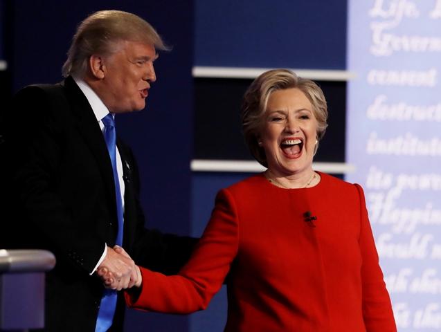 Kandidáti na prezidenta USA – demokratka Hillary Clintonová a republikán Donald Trump (vľavo)