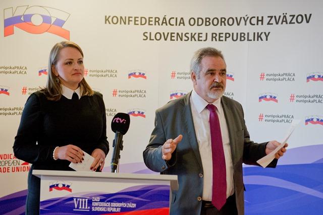 Na snímke viceprezidentka KOZ Monika Uhlerová a prezident KOZ Jozef Kollár