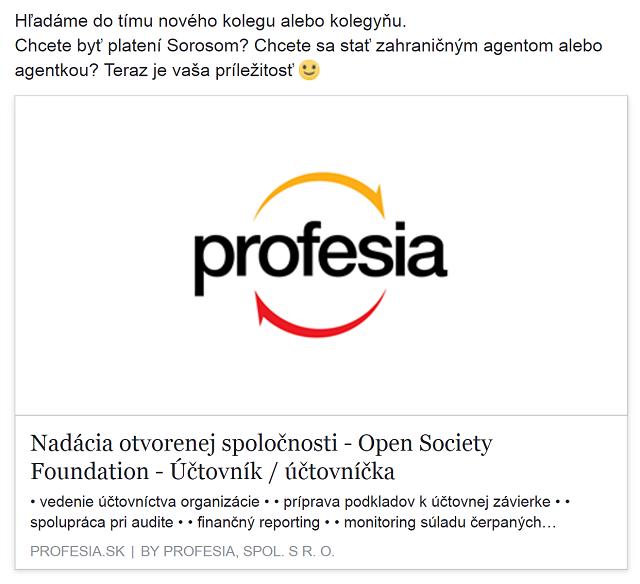 Takto zverejnila svoj inzerát Nadácia otvorenej spoločnosti na facebooku