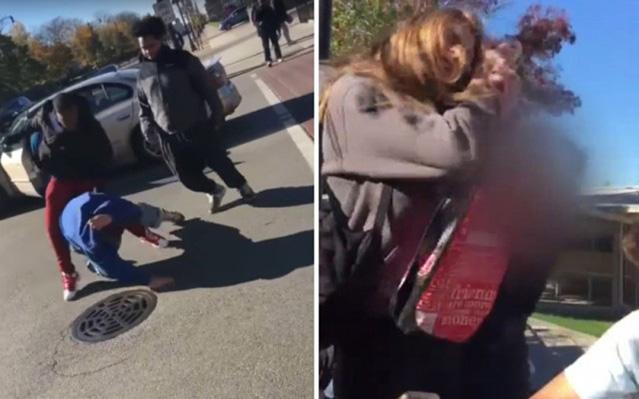 Na snímke z videa vľavo útok na voliča Trumpa, vpravo útok na stredoškoláčku, ktorá na sociálnej sieti vyjadrila morálnu podporu Trumpovi