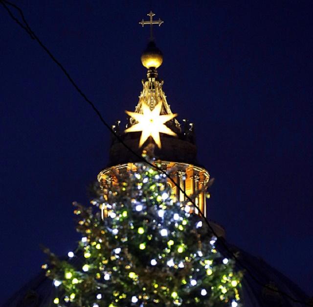 Rozsvietený vianočný stromček